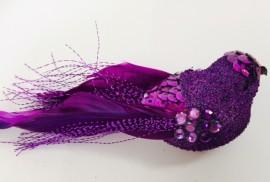 Purple bird with clip 10cm