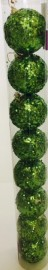 Baubles - Green sparkling pack of 8